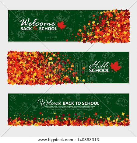 Back to school horizontal banner set with sketch school supplies elements and maple leaves. Education Concept.