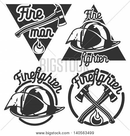 Set of vintage fireman emblems, labels, badges and logos on light background. Monochrome style.