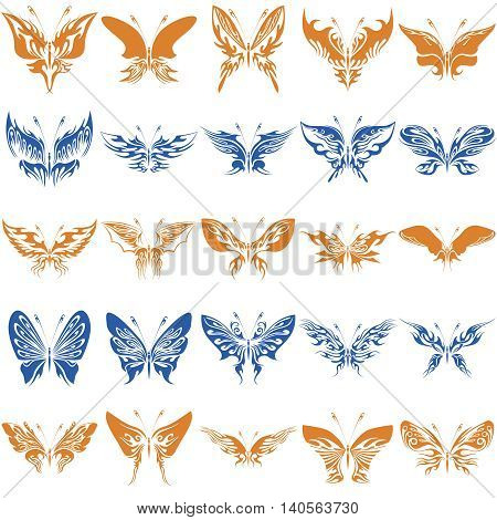 Fantastic Butterflies Clipart includes 25 beautiful images of butterflies. Intricate curves of the wings, an amazing diversity of forms, elegant and dainty lines.
