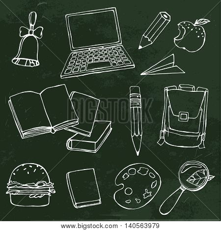 Handdrawn school related images. Vector illustration. White chalk drawing on a dark green textured background