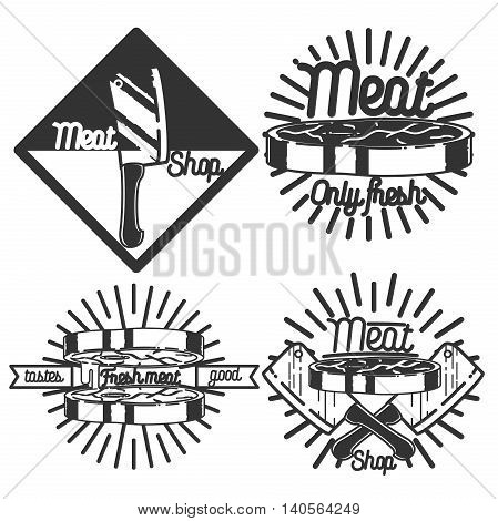 Set of vintage retro badge, label, logo design templates for meat store, charcuterie, deli shop, butchery market