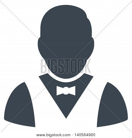 Waiter icon. Vector style is flat iconic symbol with rounded angles, smooth blue color, white background.