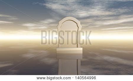 gravestone under cloudy sky - 3d rendering