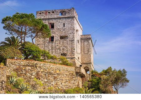 Castle on the coast of  Monterosso Beach at Ligurian Sea, Italy