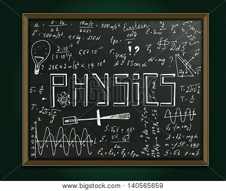 The illustration of beautiful black scientific background with chalk handwriting. Physical class blackboard. Totally vector fully scalable image with white handwritten text.