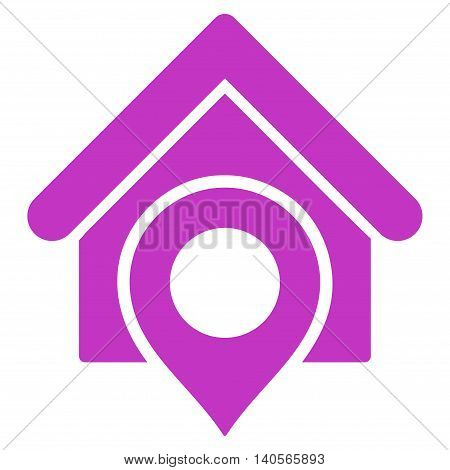 Realty Location icon. Vector style is flat iconic symbol with rounded angles, violet color, white background.