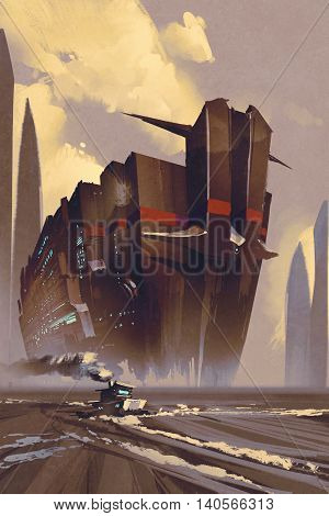 futuristic ocean linersci-fi concept, illustration digital painting