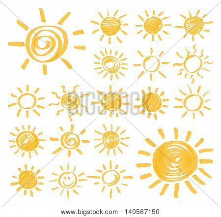 Highlighter marker summer sun design elements. Set of vector sun symbols hand drawn by yellow highlighter. Optimized for one click color changes. Vector in EPS10 format with transparent colors.