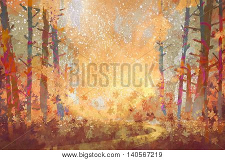 pathway in autumn forest, landscape painting, illustration