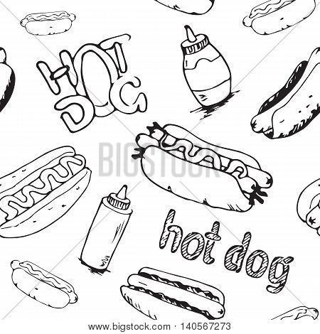 Hand drawn hot dogs seamless pattern. Fast food background. Seamless texture from sketches of hotdogs with sauce mayonnaise and vegetables. EPS8 vector illustration with pattern swatch included.
