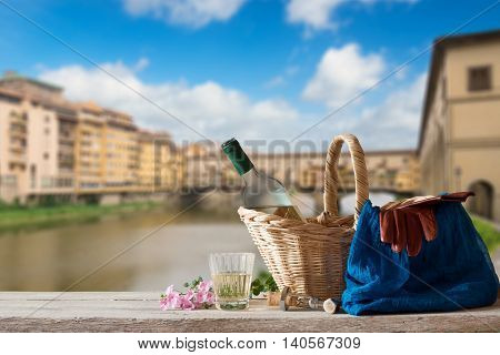Picnic In Front Of The Ponte Vecchio In Florence
