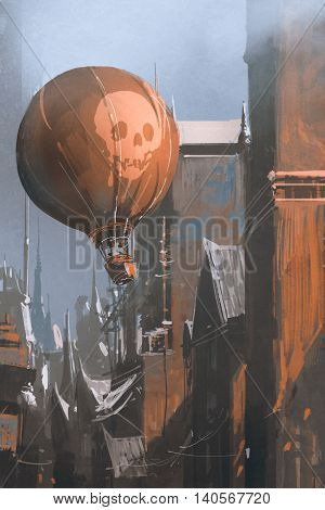hot air balloon floating in the old city, illustration, digital painting