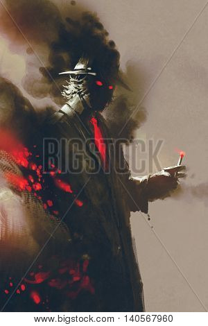 Mysterious man with hat holding a cigarette, illustration, digital painting