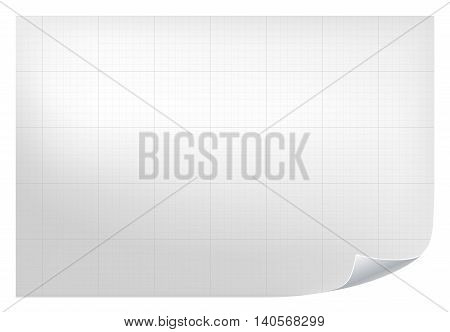 Technical grid background. Realistic blank paper with square grid