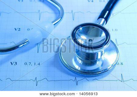 Stethoscope on EKG printout