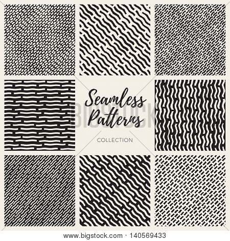 Set of Eight Vector Seamless Black and White Hand Drawn Lines Patterns Collection. Abstract Freehand Background Design