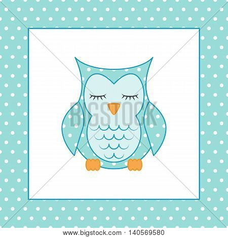 Sleeping owl applique and seamless pattern polka dots on blue background. Vector illustration. Useful for the design of children album, greeting card and invitation. Swatch inside. Flat design style.