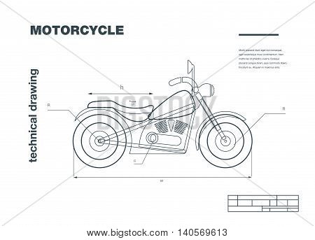 Technical wireframe Illustration with motorbike drawing on the white background.