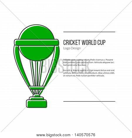 Single logo in modern flat and thin line style isolated on white background. Outline cricket game symbol. Simple mono linear pictogram. Stroke vector logotype template.