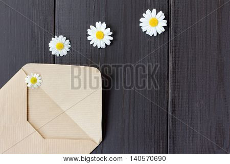 romantic letter with an attachment in the form of flowers daisies top view / flower declaration of love