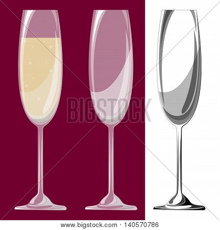 Three glasses of champagne. Vector illustration. EPS 10