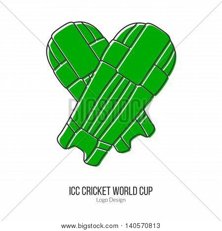 Green Cricket batting pads. Single logo in modern flat and thin line style isolated on white background. Outline cricket game symbol. Simple mono linear pictogram. Stroke vector logotype template.