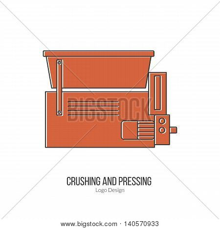 Grape crusher destemmer. Single logo in modern flat and thin line style isolated on white background. Outline winery symbol. Simple mono linear pictogram. Stroke vector logotype template.