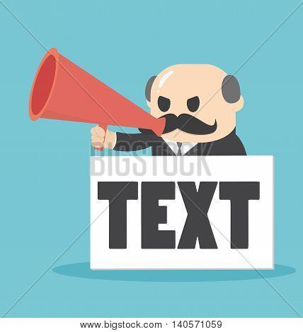 Businessman holding a megaphone with a text input box.Big Boss