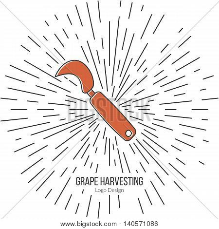 Grape hook harvesting knife with star burst. Single logo in flat and thin line style isolated on white background. Outline winery symbol. Simple mono linear pictogram. Stroke vector logotype template