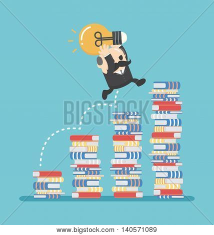 Business concept cartoon illustration knowledge gained from reading.