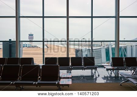 MACAO, CHINA - FEBRUARY 17, 2016: view from Macau International Airport. Macau International Airport is an international airport in the special administrative region of Macau.