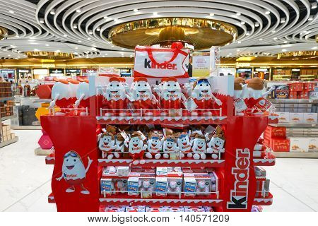 MACAO, CHINA - FEBRUARY 17, 2016: interior of a store at Macau International Airport. Macau International Airport is an international airport in the special administrative region of Macau.