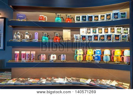 MACAO, CHINA - FEBRUARY 17, 2016: interior of Pacific Coffee at Macau International Airport. Macau International Airport is an international airport in the special administrative region of Macau.