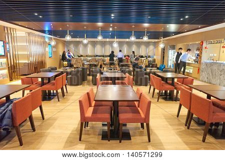 MACAO, CHINA - FEBRUARY 17, 2016: an airport lounge in Macau International Airport. Macau International Airport is an international airport in the special administrative region of Macau.
