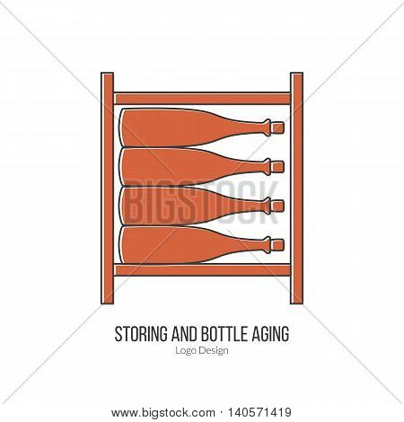 Wine storage cellar with wine bottles. Single logo modern flat and thin line style isolated on white background. Outline winery symbol. Simple mono linear pictogram. Stroke vector logotype template.