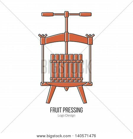 Fruit press. Single logo in modern flat and thin line style isolated on white background. Outline winery symbol. Simple mono linear pictogram. Stroke vector logotype template.