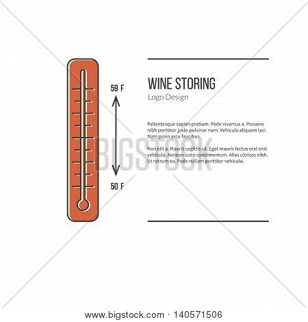 Thermometer with graphic temperature. Single logo in modern flat and thin line style isolated on white background. Outline winery symbol. Simple mono linear pictogram. Stroke vector logotype template.