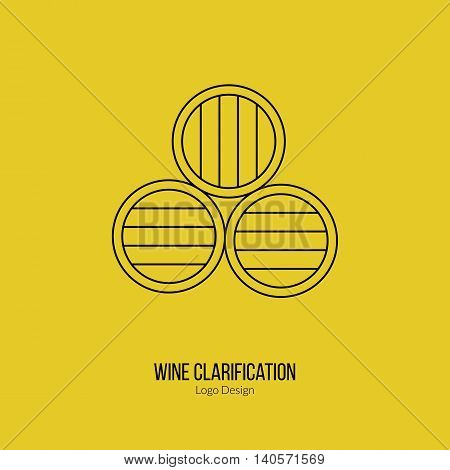 Oak wine barrels. Single logo in modern thin line style isolated on yellow background. Outline winery symbol. Simple mono linear pictogram. Stroke vector logotype template.