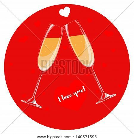 Two glasses of champagne on a red background. Heart with the words I love you.
