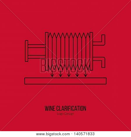 Wine filter pump system. Single logo in modern thin line style isolated on red background. Outline winery symbol. Simple mono linear pictogram. Stroke vector logotype template.