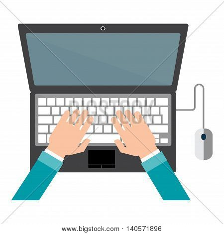 Top view of people working with computer at the work desk. Man hands typing text on the laptop keyboard and using social networks for communication.