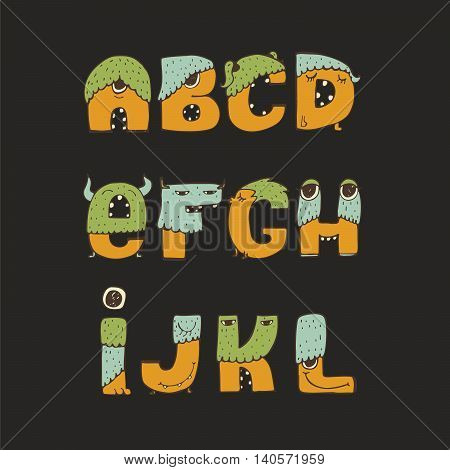 Vector cute kind monster font. Yellow blue green. Every letter has unique design with fur eyes nose mouth and teeth. Some have crowns and legs. Letters from A to L isolated on black background