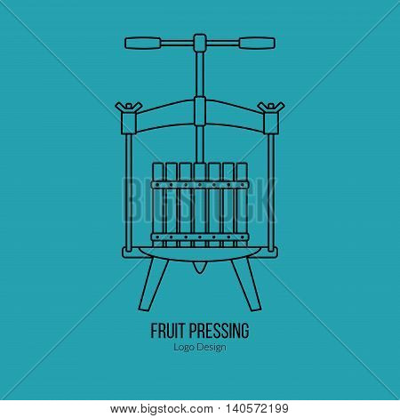 Fruit press. Single logo in modern thin line style isolated on blue background. Outline winery symbol. Simple mono linear pictogram. Stroke vector logotype template.