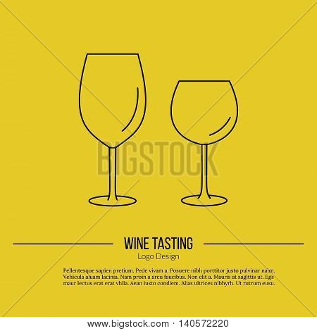 Wineglasses. Single logo in modern thin line style isolated on yellow background. Outline winery symbol. Simple mono linear pictogram. Stroke vector logotype template.