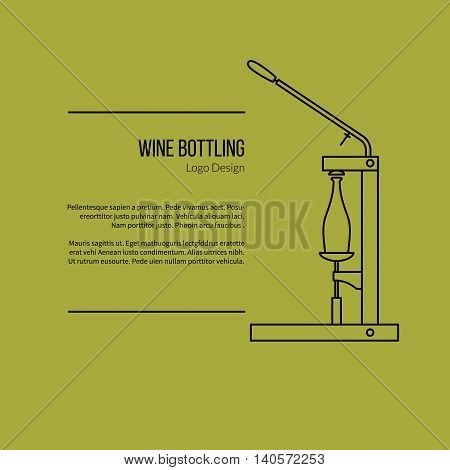 Wine bottle corker. Single logo in modern thin line style isolated on green background. Outline winery symbol. Simple mono linear pictogram. Stroke vector logotype template.