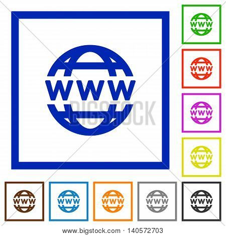 Set of color square framed WWW globe flat icons