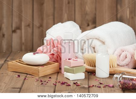 Soap Bars, Towels, Wisps. Body Care Kit. Dried Rose Petals
