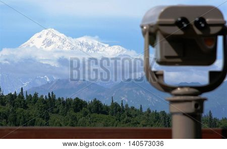 The view of Mount Denali (McKinley) from the Mount McKinley lodge in Alaska