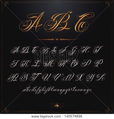 Hand drawn vector calligraphy tattoo alphabet set
