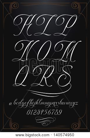 Hand drawn vector calligraphy tattoo alphabet with numbers
